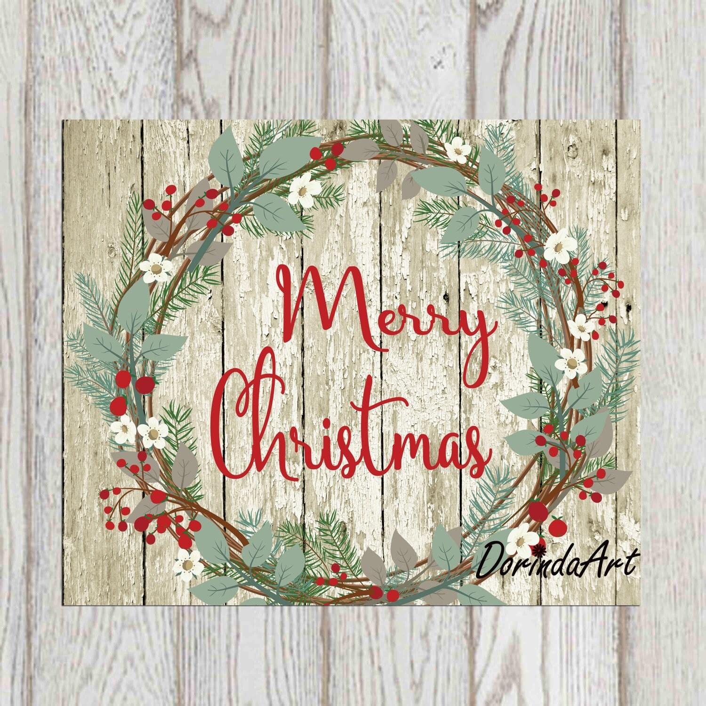 rustic christmas wreath print merry christmas printable rustic