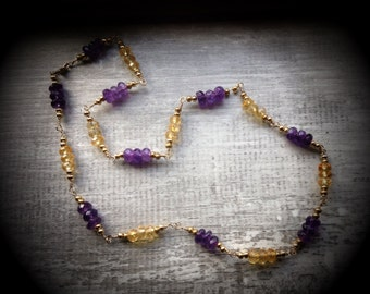 14K Gold-filled and Amethyst and Citrine necklace