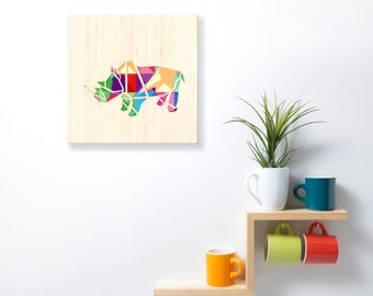 Animals Wall Art, Living Room Wall Art Rhino Design, Kids Room Wall Decor,