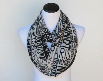 Black gray love urban cities scarf Paris London New York Rome scarf infinity scarf - I love NY scarf - I love London soft jersey knit scarf