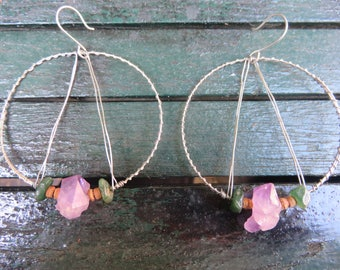 Silver Wire Wrapped Hoops with Amethyst Quartz