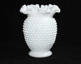 Large Fenton Hobnail White Milk Glass Vase * Double Crimped Ruffled Edge * Wedding Bridal Centerpiece * 1970's Art Glass