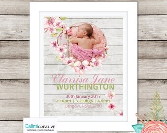 Birth Announcement Print - Nursery Decor - Bedroom Art - Photo Bedroom Decor - Newborn Print - Birth Announcement Card - Personalized Art!