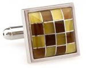Tigers Eye Yellow Cats Eye Checkered Board Cufflinks Cuff Links