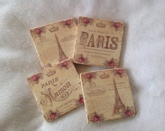 Natural Stone Coasters Paris Themed, Effel Tower, Shabby Chic, Beverage Coaster