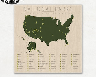 United States National Parks Poster Art Print - Map of national parks in united states