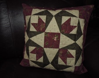 "Christmas Cactus Block Quilted Pillow in Burgundy, Green and Light Tan     14.5"" x 14.5"""