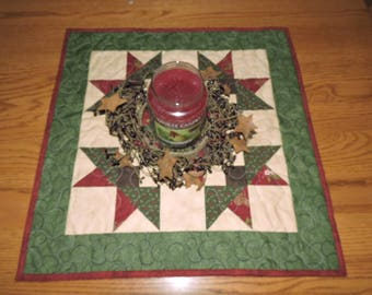 "Christmas Table Topper or Mini Quilt in Burgundy, Green, Chocolate Brown and Cream   20.5"" x 20.5"""