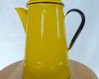 25% OFF! Vintage Bright Yellow Enamelware Coffeepot