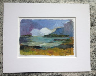 SOLD -Dark Sky - Original Acrylic Painting 8x10 - Maine Landscape - Matted