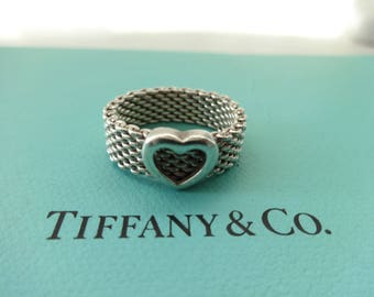 Authentic Tiffany & Co. Somerset Mesh Heart Sterling Silver Ban d Ring Size 7