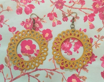 Mustard Hand Painted Filigree Earrings