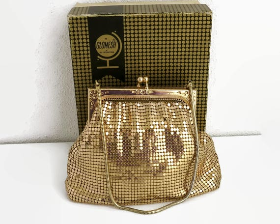 Gold mesh purse, Glomesh brand, original box, pressed metal frame with floral pattern, gold snake chain handle, Australia, 1970s