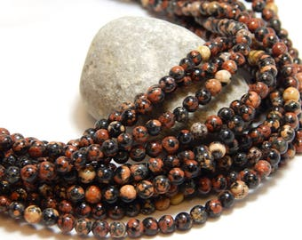 4mm Red Snowflake Obsidian, Full Strand, 4mm Snowflake Obsidian, Small Gemstone Beads, 4mm Gemstones, Red Black Beads, Tiny Beads, B-22A