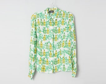 Versace 1990s Women's Bottle Print Shirt