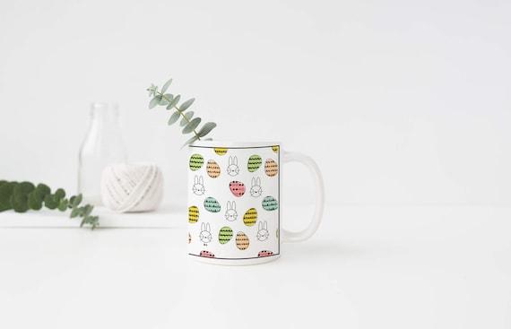 Easter Bunny, Easter Egg, Coffee Mug, Tea Mug, Black and White, Pastels, Bunny