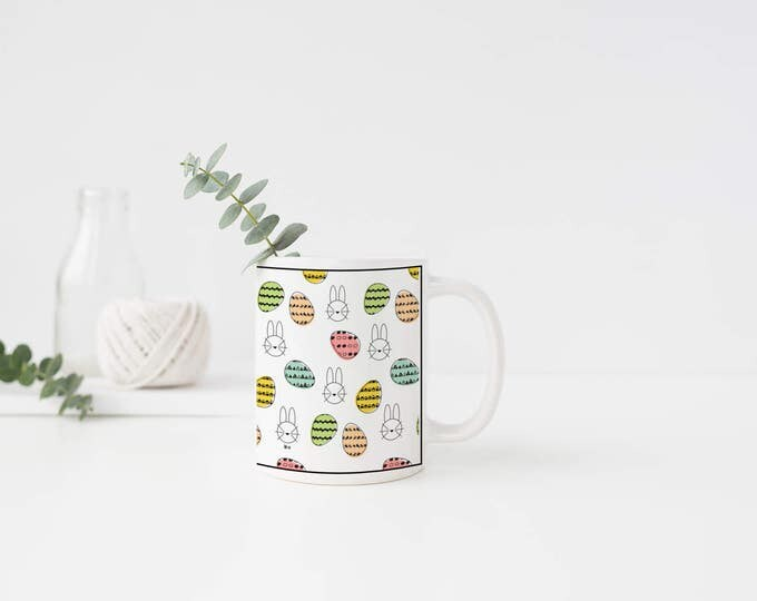 Easter Bunny, Easter Egg, Coffee Mug, Tea Mug, Black and White, Pastels, Bunny