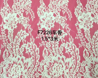 Chantilly corded Lace Fabric, 59 inches Wide for Veil, Dress, Costume, Craft Making-corded Lace, off white lace-7226