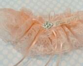 Prom garter in peach lace