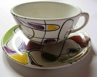 1950s Italian art pottery cup and saucer, high modernist studio Italian pottery