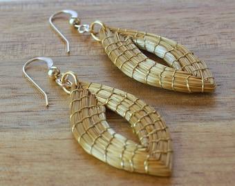 Marquise Handwoven Earrings, Leaf Earrings, Golden Grass Earrings, Organic Earrings, Handmade, Golden Leaf Earrings, Geometric Marquise