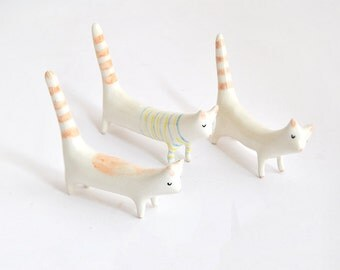 Long Tail Cat Ceramic Miniature in White Clay, Decorated with Stripes, Spots or Plain White. Ready To Ship