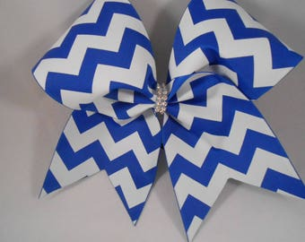 Cheer Bow Royal Blue Chevron by BlingItOnCheerBowz