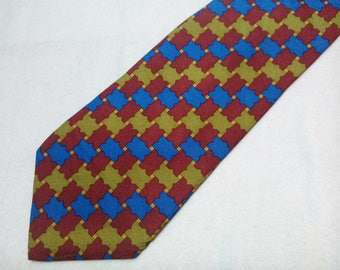 Vintage Barneys New York Necktie Houndstooth Pattern Tie Made In Italy