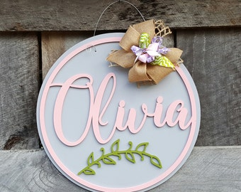 Name Wooden Sign - Wood Round Name - Personalized Wall Hanging - Nursery Wall Hanging