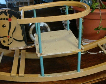vintage baby rocking horse /ride on horse  child rocker seat / baby rocker/ vintage sit in horse rocker