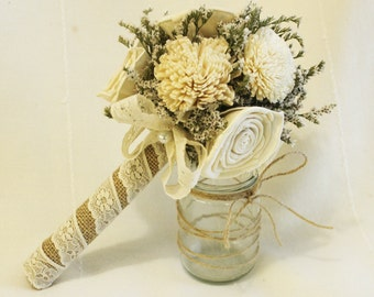 Bridal Bouquet or Bridesmaid bouquet , Wedding Cream, Sola flowers