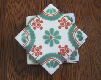 Set of 4 Green and Orange Mexican Folk Art Tile Drink Coasters
