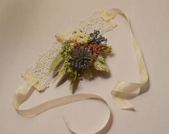 Wedding corsage, Wrist corsage, Pink corsage, Dried flower corsage - Custom Made to Order