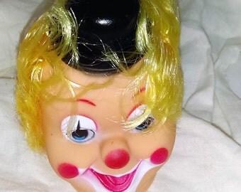 Yellow Hair Clown Doll Head, No Hands, Retro Craft Supply