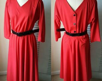 DR3037 Vintage Women's Leslie Fay Red Belted V Neck Long Sleeve Midi Dress sz 16