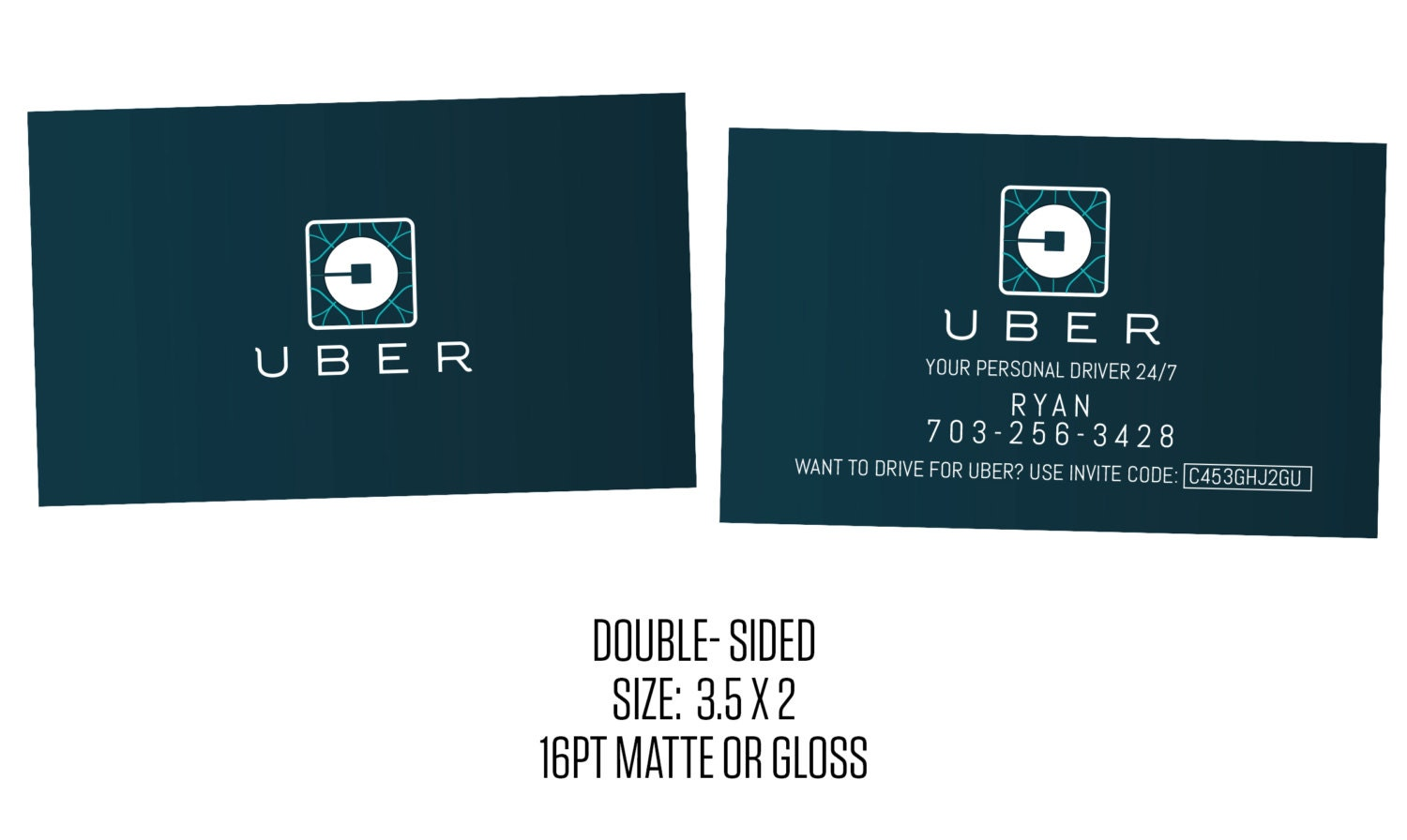 Uber business cards social media cards new uber logo for Order custom business cards
