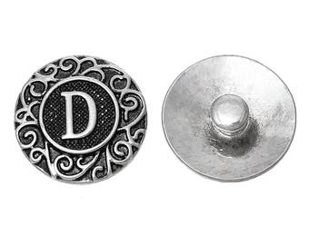 "1pc 19mm Antique Silver Alphabet /Letter ""D"" Snap Button Charms Knob Size: 5.5mm( 2/8"")"