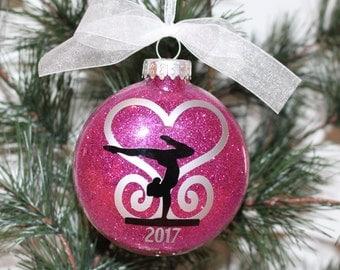 Gymnast Ornament. Gymnastics Christmas Ornament, Glass Ornament Gift