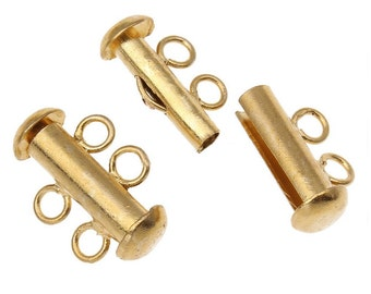 3 Gold Color Slide Lock Two Strand Multi Clasps