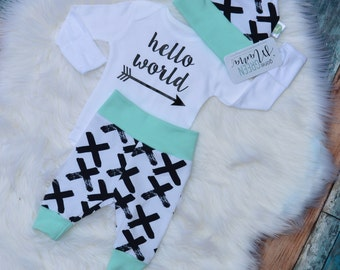 Hello world, coming home outfit boy, newborn boy photo outfit, newborn coming home outfit, take home outfit boy, newborn boy coming home