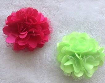 Satin flower alligator hair clip (1) -children - girls - teens - women - adults - red, light green, fuchsia