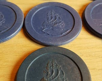 Poker Chip Sailing Ship (blue) ( 25) - PRICE INCLUDES SHIPPING