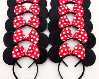 Minnie Ears, Mickey Ears or Mix_20 ct_Polka Dot Red Bow Minnie Ears, Mickey Ears for Picture, Dress up, Theme Birthday Party