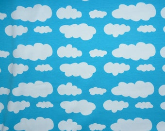 Fabric - jersey fabric - Turquoise cloud print knit