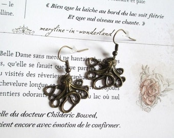 bronze steampunk octopus squid earrings