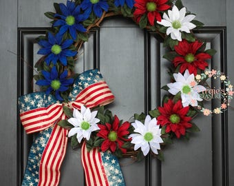 Rudbeckia Grapevine Wreath, Patriotic Grapevine Wreath, Red White and Blue Floral Wreath, Summer Wreath, Fourth of July Wreath, Memorial