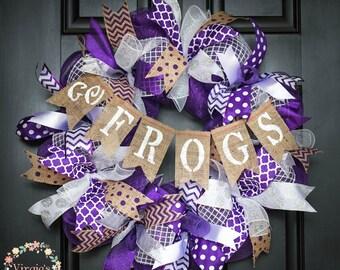 TCU Wreath, TCU Deco Mesh Wreath, Go Frogs Wreaths, TCU Burlap Banner, Graduation Wreath, Alumni Wreath