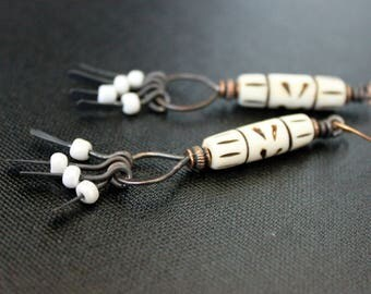 Bohemian Earrings - Carved Bone Barrels - Seed Beads - Oxidized Copper - Hand Forged Hoops - Gypsy Tribal Style - Primitive - Handmade Boho