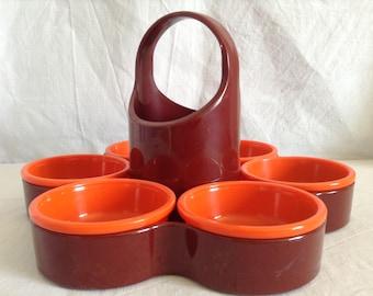 Servant vintage, Brown and orange, 6 cups, Emsa.