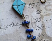 Let's Go Fly a Kite Layering Necklace, Ceramic Kite, Long Necklace, Kite Necklace, Simple Necklace, Charm Necklace